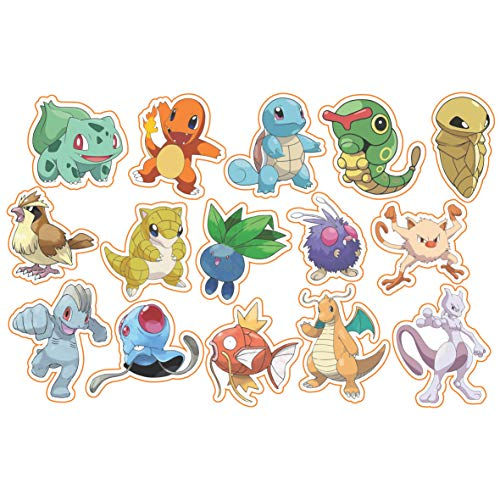 Pokemon Sticker, Waterproof Vinyl - 30 Pack of Peel and Stick Decal for Decorating Birthday Party, Gift Bag, Hydro Flask, Laptop, Phone Case, Bike and Car, Best Gift for Kids, Teen. by H2 Studio