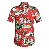 TEBAISE Hawaiihemd Herren Kurzarm Hemd 3D Gedruckt Muster Freizeit Hemd Sommer Lässige Urlaub Button Down Hemden Hawaii Beach Aloha Shirts für Anzug Hochzeit 2019 Vatertags