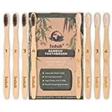Bamboo Toothbrush Reusable Compostable ECO Friendly Charcoal Infused BPA Free Individually Numbered Medium Bristles,Pack of 8, Isshah