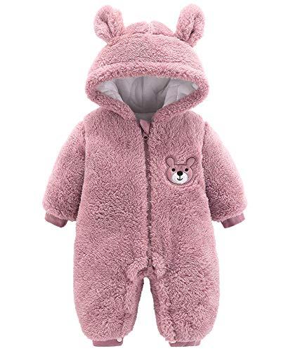 Bébé Flanelle Barboteuses Combinaison De Neige Chaude En Coton Polaire à Capuche Manches Chaude En Coton D'hiver Manteau Pour Bébé Fille Garçon,Pink-9M