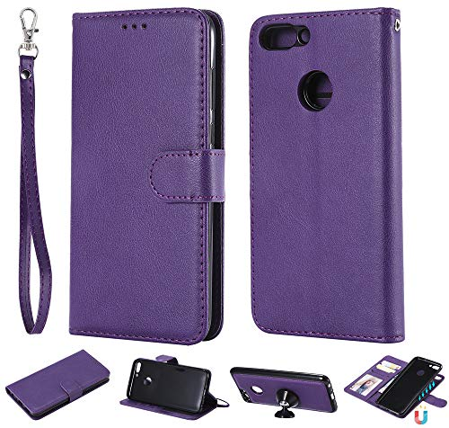 Ooboom 2in1 Funda para Huawei P Smart/Honor 9 Lite, Magnético Desmontable Flip Folio Libro Wallet Case Cover Carcasa Piel PU Ranuras para Tarjetas de Crédito Correa para la Muñeca - Púrpura
