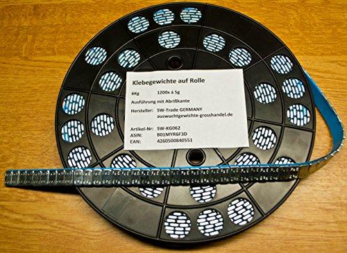 SW-Trade Germany 1200 KLEBEGEWICHTE auf Rolle Auswuchtgewichte 6Kg mit Abrißkante Kleberolle