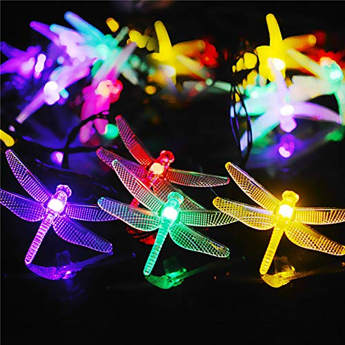 Catena di luci a energia solare con 50 LED, per esterni, luce a forma di libellula, luce solare con 8 modalità di illuminazione, per giardino, terrazza, Natale