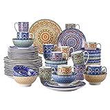 vancasso Mandala Servizio Piatti 48 Pezzi Servizio da Tavola in porcellana di alta qualità Servizio Combinato in Ceramica Servizio da pranzo di Stile Bohémien per 12 persone Multicolore