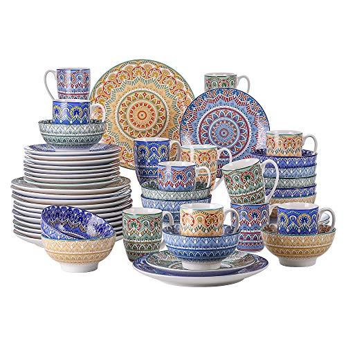 vancasso Serie Mandala Vajillas Completas de 48 Piezas de Porcelana con 12 Platos Postre Cuencos Platos Llanos y Tazas, para 12 Personas, Multicolor