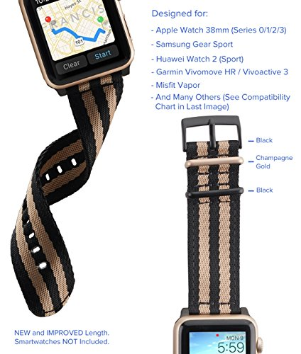 Upgraded TRUFFOL 22mm NATO Woven Nylon Band for Apple Watch 42mm Samsung Gear S3 Frontier amp Classic Huawei Watch 2 Classic  Replacement Watch Strap with Steel Metal Buckle Black/Space Grey