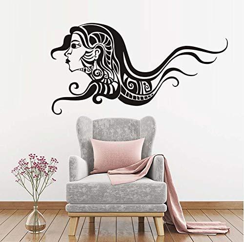 Zlxzlx Fashion Wan met lange haren Spa schoonheid woonkamer muursticker vinyl barbershop sticker schoonheid meisjes decoratie wanddecoratie 84 x 43 cm