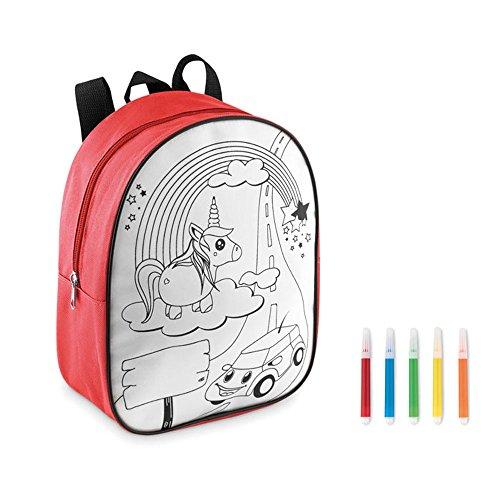 Einhorn Unicorn Rucksack zum Selbstbemalen Kinder Tasche Malset inkl. 5 Filzstiften (Rot)