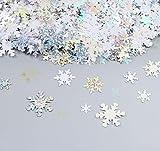 Adorfine 100g Metallic Konfetti Weihnachten Glitzer Schneeflocken zum Aufbügeln, Fensterdeko Streudeko Weihnachtsbaum Dekorationen Christbaumschmuck(Silber)