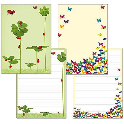 2 Stück - Schreibblock 1x Schmetterlinge 1x Glücksklee mit Marienkäfern je 24 Blatt Format DIN A4 mit Deckblatt 7210+7220