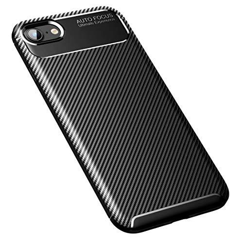 AILZH Carcasa para Funda iPhone SE(2020)/iPhone 7/iPhone 8 TPU Silicona Suave Anti-rasguño Anti-Shock Antichoque Caso Mate Bumper Case Cover-Fibra de Carbono(Negro)