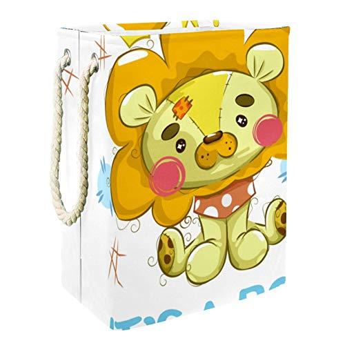 EZIOLY Cesta para la colada con diseño de león de peluche plegable con asas y soportes desmontables, resistente al agua, para organizar juguetes en la sala de lavandería, dormitorio