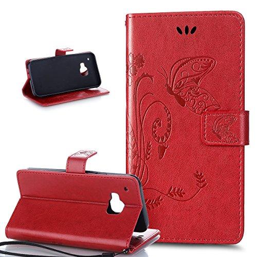 Kompatibel mit HTC One M9 Hülle,HTC One M9 Handyhülle,ikasus Prägung Groß Schmetterling Blumen PU Lederhülle Flip Hülle Cover Ständer Etui Karten Slot Wallet Tasche Hülle Schutzhülle für HTC One M9,Rot