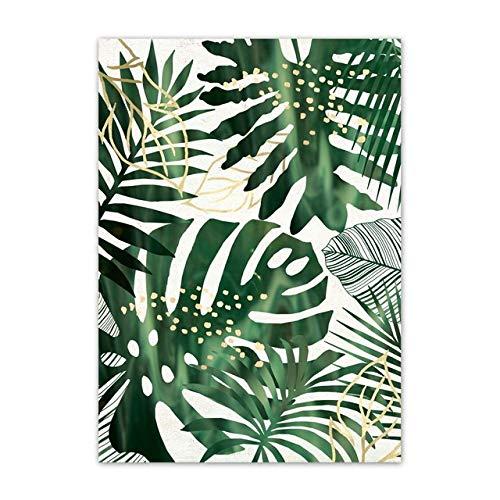 LiMengQi Póster nórdico de Cactus con Hoja de Monstera en Maceta Verde y Impresiones de Arte de Pared Pintura en Lienzo para decoración de Sala de Estar(No Frame)