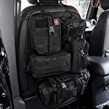Universal Tactical Vehicle Seat Back Organizer with 5 Detachable Molle Pouch, Medical Pouch Water Bottle Pouch, 3 Different Size Admin Pouch Vehicle Panel Organizer Storage Bag with Multi-Pocket