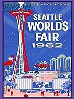 ERZAN30x40cmメタルポスター壁画ショップ看板ショップ看板1962年シアトルワシントン万国博覧会米国旅行広告家の装飾ブリキ看板