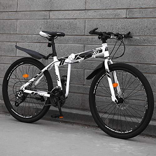 24inch Folding Bike,Dual Disc Brakes Variable Speed Mountain Bike,High Tensile Steel City Bike,Adjustable Seat & Handlebar,for Adult Men and Women Teens-27Speed-B1