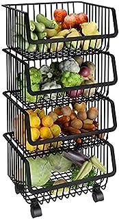 Racques de rangement Cuisine Fruit Fruit Pays de végétale Paniers de rangement Chariot de rangement de cuisine avec panier...