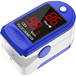 AccuMed Fingertip Pulse Oximeter, Sp02 Finger Blood Pulse Oxygen Monitor, w/Carrying case, Lanyard Silicon Case…