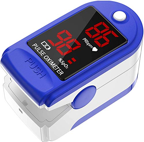 AccuMed CMS-50D1 Fingertip Pulse Oximeter Blood Oxygen Sensor SpO2 for Sports and Aviation. Portable and Lightweight with LED Display, 2 AAA Batteries, Lanyard and Travel Case (Blue)