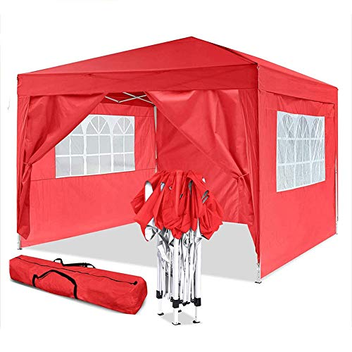 DNNAL 3x3m Gazebo, Regolabile Impermeabile Tenda Giardino Marquee con 4 Pannelli Laterali per Beach Immediata Shelter Flea Market Camping Wedding