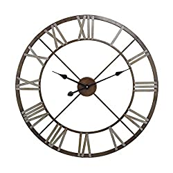 AR Lighting Open Center Iron Wall Clock in Bronze, Grey