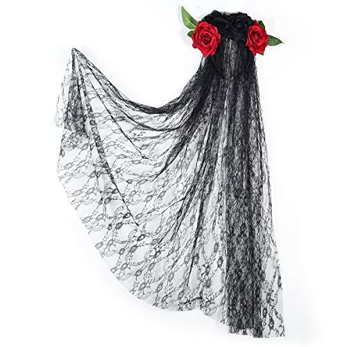welltop Halloween Schleier Rose Flower Stirnband mit Langen schwarzen Schleier Tag des Toten Schleiers Gothic Brautschleier für Frauen Damen und Mädchen im Teenageralter