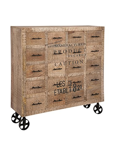 Buffet 20cassetti industriale legno naturale 120x 38x 118cm