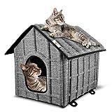 PUPPY KITTY Faltbare Katzenhaus, Outdoor Katzenhöhle für Katzen, Katzenhöhle,Haustier Haus mit Abnehmbarem Matratze Weich und Warm für Hund Katze Hündchen Kaninchen