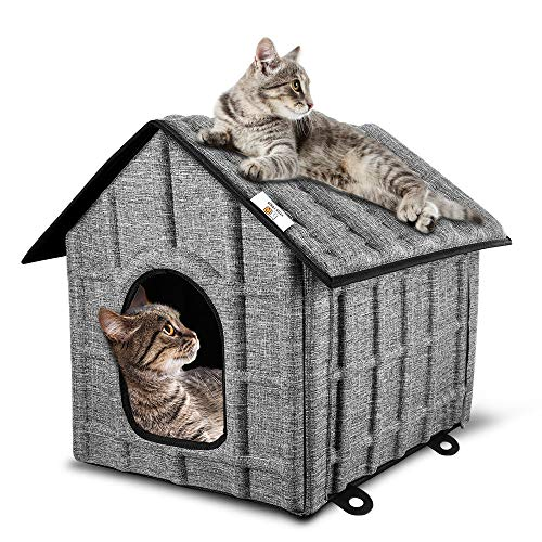 PUPPY KITTY Faltbare Katzenhaus, Outdoor Katzenhöhle für Katzen Winterfest, Katzenhöhle,Haustier Haus mit Abnehmbarem Matratze Weich und Warm für Hund Katze Hündchen Kaninchen