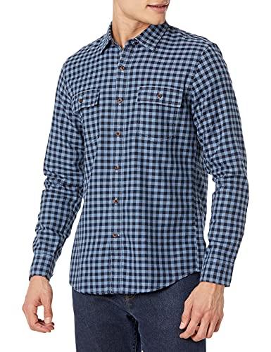 Amazon Brand - Goodthreads Men's Slim-Fit Long-Sleeve Plaid Twill Shirt, Navy Eclipse, Small