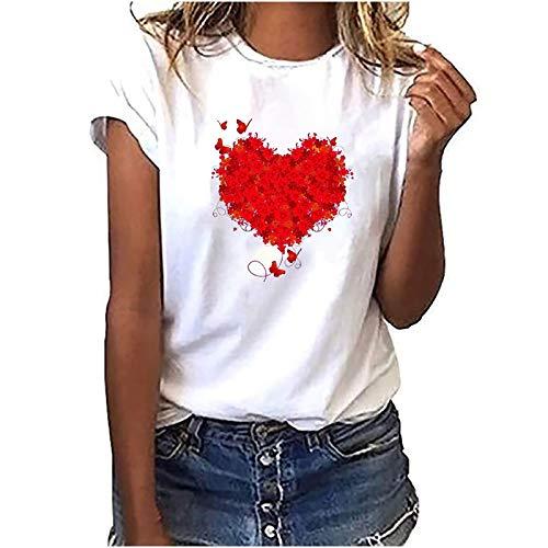 2021 Nuevo Camiseta Mujer Parejas Verano Moda Manga Corta Impresión de Amor Blusa Camisa Cuello Redondo Basica Clásico Camiseta Suelto Tops Casual Fiesta T-Shirt Original Aniversario de Bodas tee
