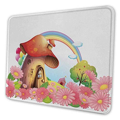 Pilz Mauspad Muster kleines Pilzhaus im Garten der Blumen Regenbogen Obstbäume Zirkus Zelt Luftballons Mauspad für Frauen Glitter Multicolor, Es