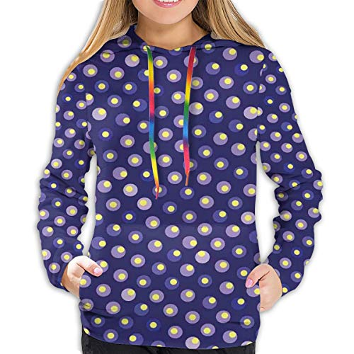 FULIYA Women's Hoodies Tops,Abstract Geometric Ornament with Repeating Contrast Moire Circles,Lady Fashion Casual Sweatshirt(M)