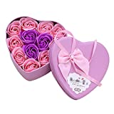 ningxiao586 Mini Heart Tin Geschenkbox mit 11 Seifenrose FlowersGreat für den Hochzeitstag zum...