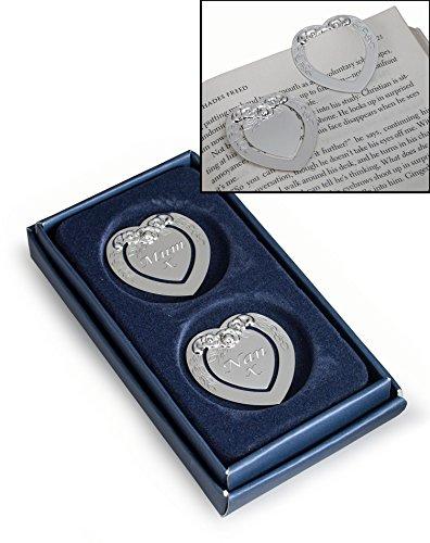 Set di 2segnalibri argento a forma di cuore con fiori di design personalizzato–inciso con messaggio/nome a scelta