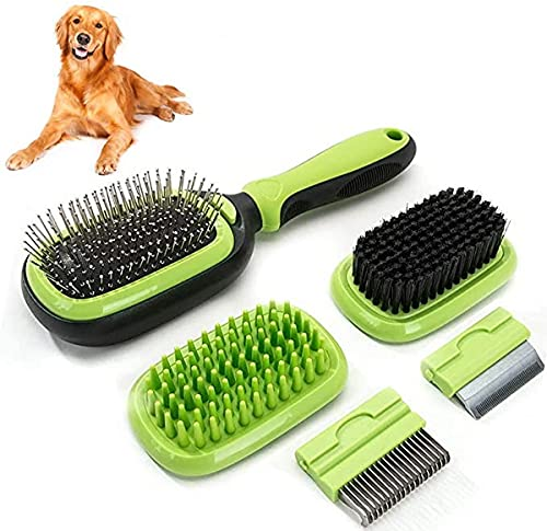Puzzlos Haustierpflege-Bürste 5 in 1 Haustier-Massage-Kit Hundebürste Katzenbürste...