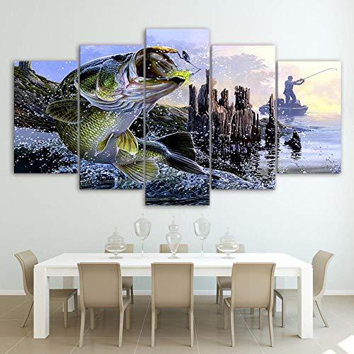 XCSBZ Leinwandbild 5 Stück Leinwandbilder Hd-Drucke Wandkunst Wohnkultur Für Wohnzimmer 5 Stück Forellenbarsch Angeln Gemälde Fisch Poster,Without Frame