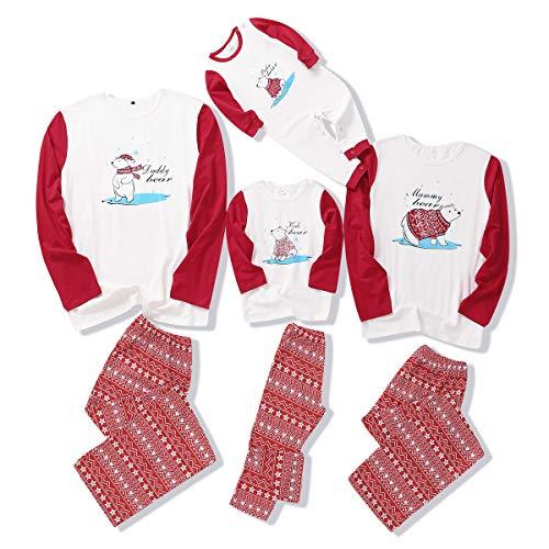 Tabpole Passender Familien-Weihnachtspyjama mit Eisbär-Hemd und Hose, Hauskleidung, Nachtwäsche für Damen, Herren, Kinder, Baby Gr. 12-18 Monate, Babys