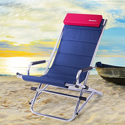 Foldable Aluminum Frame Rocking Chair with Pillow