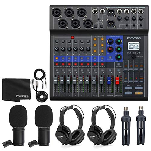 Zoom LiveTrak L-8 Portable 8-Channel Digital Mixer and Multitrack Recorder + 2x Zoom ZDM-1 Mic with Headphones, Windscreens and Stands + Cleaning Cloth – 2 Person Podcasting Bundle