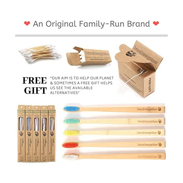 BAMBOOGALOO Organic Bamboo Toothbrushes - 5 Pack with Bamboo Cotton Buds & Dental Floss Gift. Premium UK Design, Natural…
