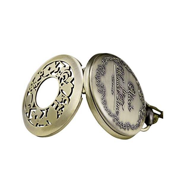 Morfong Men's Women Quartz Pocket Watch Alice in Wonderland Series Hollow Case Vintage Fob Watches