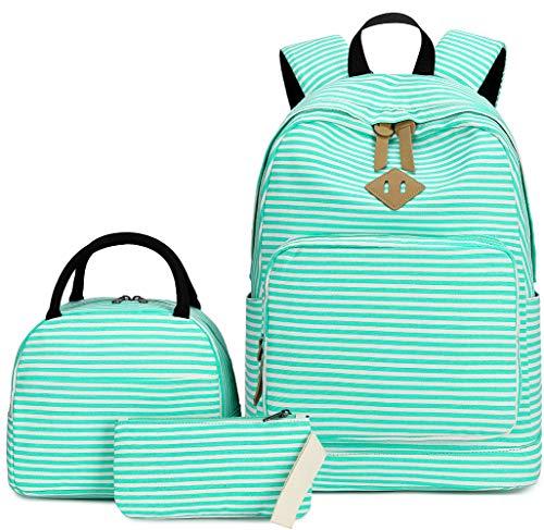School Backpack Set Students Casual Travel School Bookbag Teens Girls Schoolbag (Turquoise White Stripe -005)