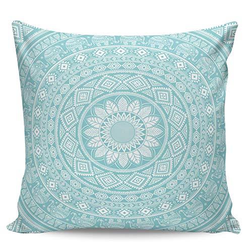 Winter Rangers Fundas de almohada decorativas, diseño minimalista de mandala azul aguamarina ultra suave, funda de cojín cuadrada cómoda para sofá dormitorio, 45,72 x 45,72 cm