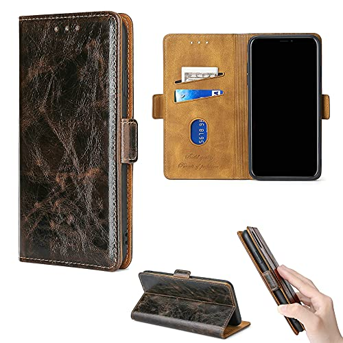 Rouenwck Flip-Hülle für Crosscall Core X3 Hülle Handy Ständer Cover [braun]