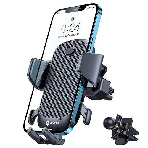 andobil Handyhalterung Auto Lüftung Handyhalter fürs Auto 2020 Patent Design mit 2 Lüftungsclips Smartphone kfz Halterung 360° Drehbar Handyhalterung für iPhone 12 Pro/11/11 Pro/Samsung S10/Huawei usw