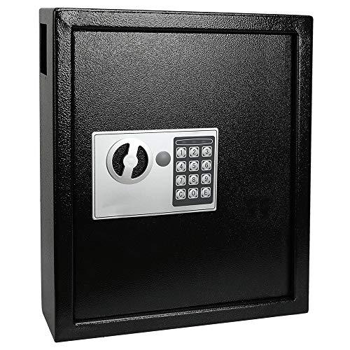 KYODOLED Electronic 40 Keys Cabinet Wall Mount,Digital Key Safe Lock Box,Large Security Lockbox for House Key,Heavy Duty Combination Lock Storage,14.37'' X 11.8'' X3.93''Black 40 Keys