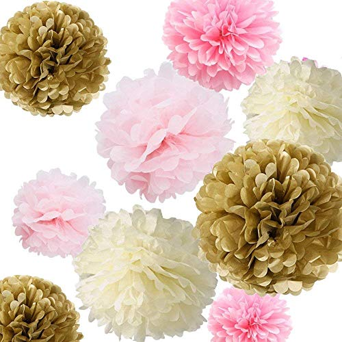 "Fonder Mols Tissue Paper Flowers Pom Pom Decorations - Pack of 12 pcs 14"", 10"", 8"" Ivory, Light Pink, Pink and kahki Paper Flowers For for Wedding Birthday Baby Shower Bachelorette Nursery Decor"