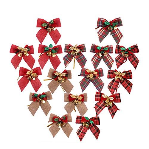 Feelava Weihnachtsschleifen, 16 Stück Sackleinen Band Schleifen für Weihnachtsbaum, Weihnachtsschleifen mit Glöckchen für Urlaub, Geburtstag, Hochzeit, Party, Dekoration für Weihnachtsbaum